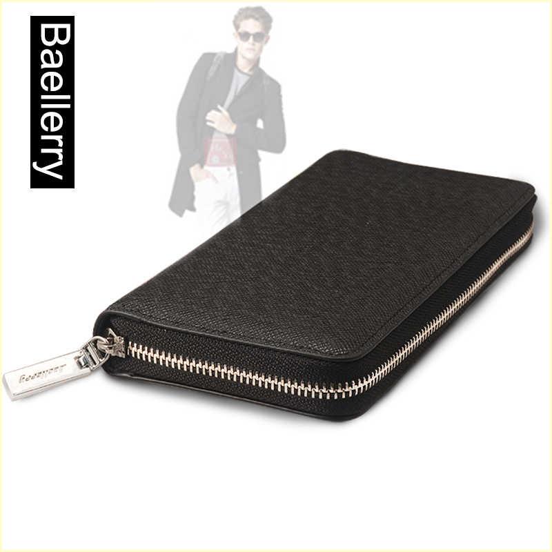 7e3ce7c09118 Портмоне baellerry для мужчин одежда высшего качества кожаный бумажник  кошелек мода повседневное мужской клатч на молнии