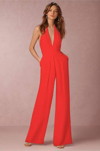 675dbac94b39 White Romper Summer Sexy Women Jumpsuit Sleeveless Trousers Long Pants  Overall Wide Leg Lady Jumpsuit High