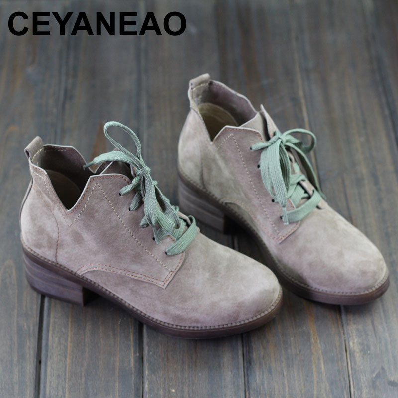 CEYANEAO Women s Boots Round toe Lace up Ladies Ankle Boots 3CM Height Heel Boots Female