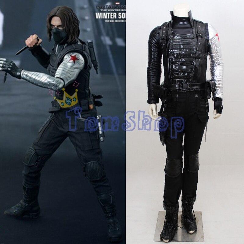 Captain America Winter Soldier Bucky Barnes Cosplay Outfit Uniform Suit Full Set Men Women Halloween Costumes Custom Made