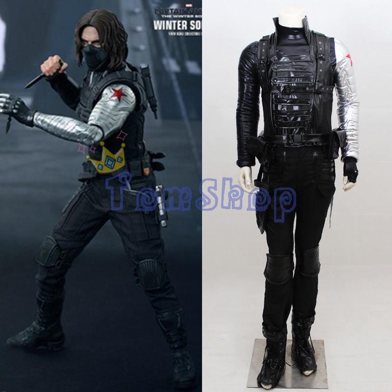 Captain America Winter Soldier Bucky Barnes Cosplay Outfit Uniform Suit Full Set Men Women Halloween Costumes Custom Made