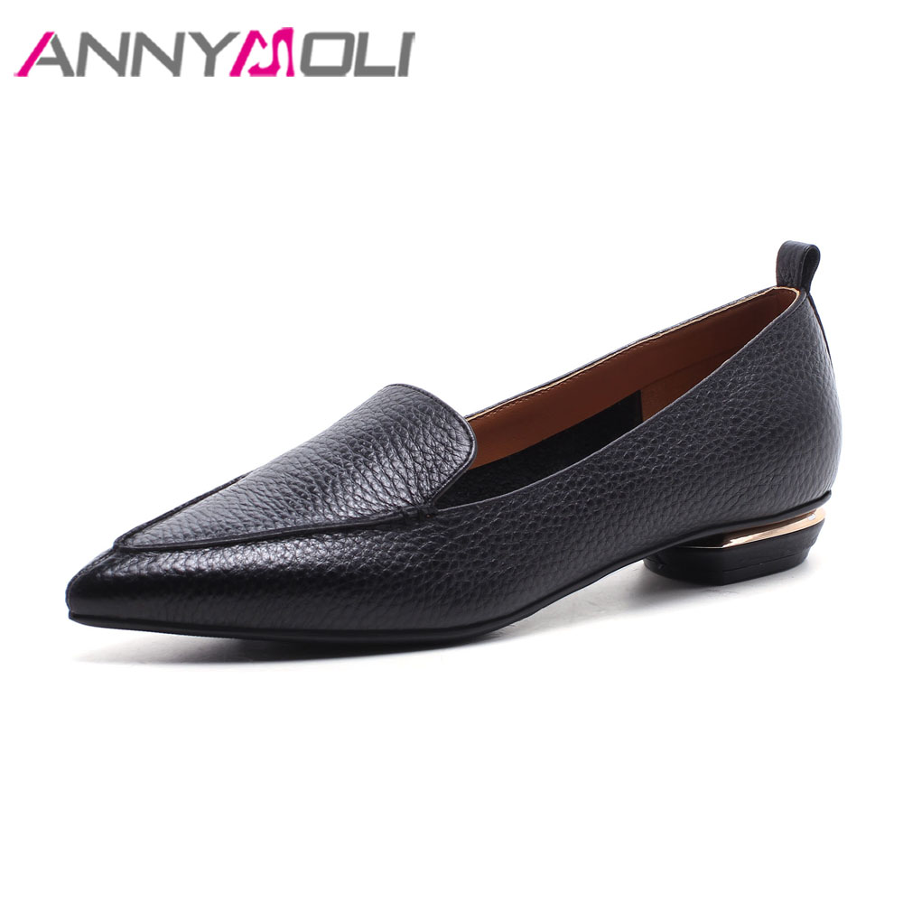 ANNYMOLI Women Moccasins Genuine Leather Skin Shoes Flats Pointed Toe Casual Shoes 2018 Slip On Leather Shoes Spring Black Flats odetina 2017 new women pointed metal toe loafers women ballerina flats black ladies slip on flats plus size spring casual shoes