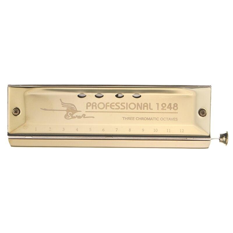 Лебедь 12 отверстий 48 тон хроматической Губные гармоники золото Цвет лазерной взялся до ...