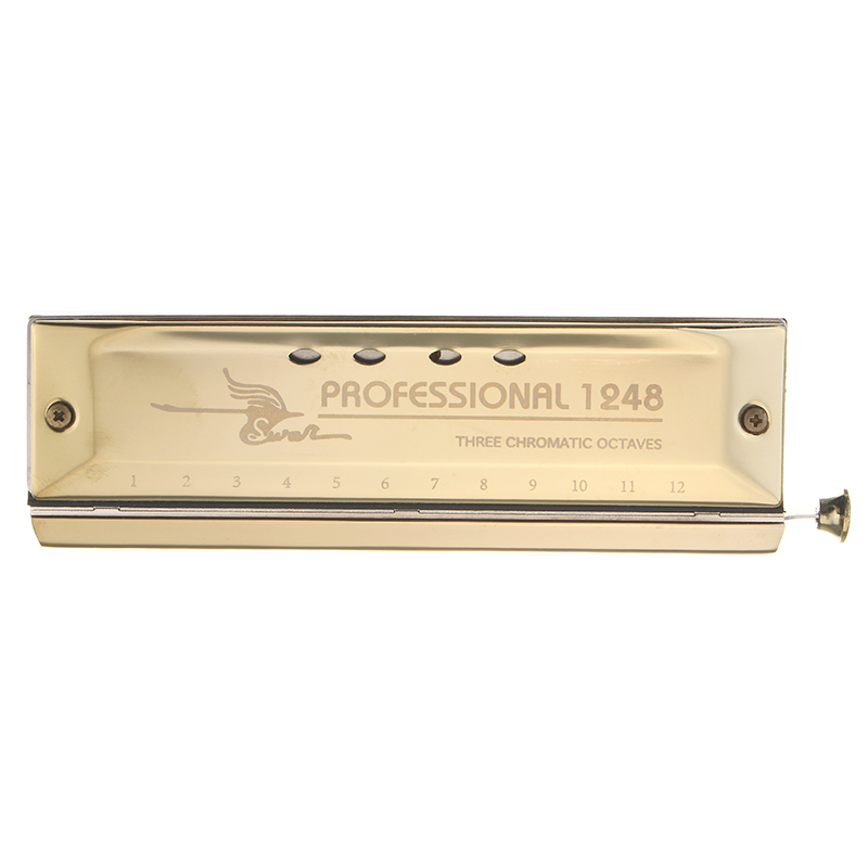 Swan 12 Holes 48 Tone Chromatic Harmonica Gold Color Laser Proceeded Board Musical Instrument Teaching Performing Harp Accessory mini 10 hole c tone harmonica black golden