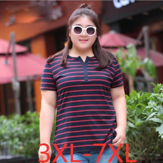 2019 été nouveau grande taille femmes lâche 100% coton rayure à manches courtes haut t-shirt wowan grande taille hauts T-shirts 4XL 5XL 6XL 7XL