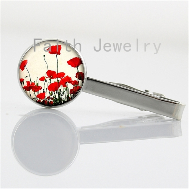 Red Poppy Collar Clips Flowers Necktie Bar Clasp Clamp Pin Art Jewelry