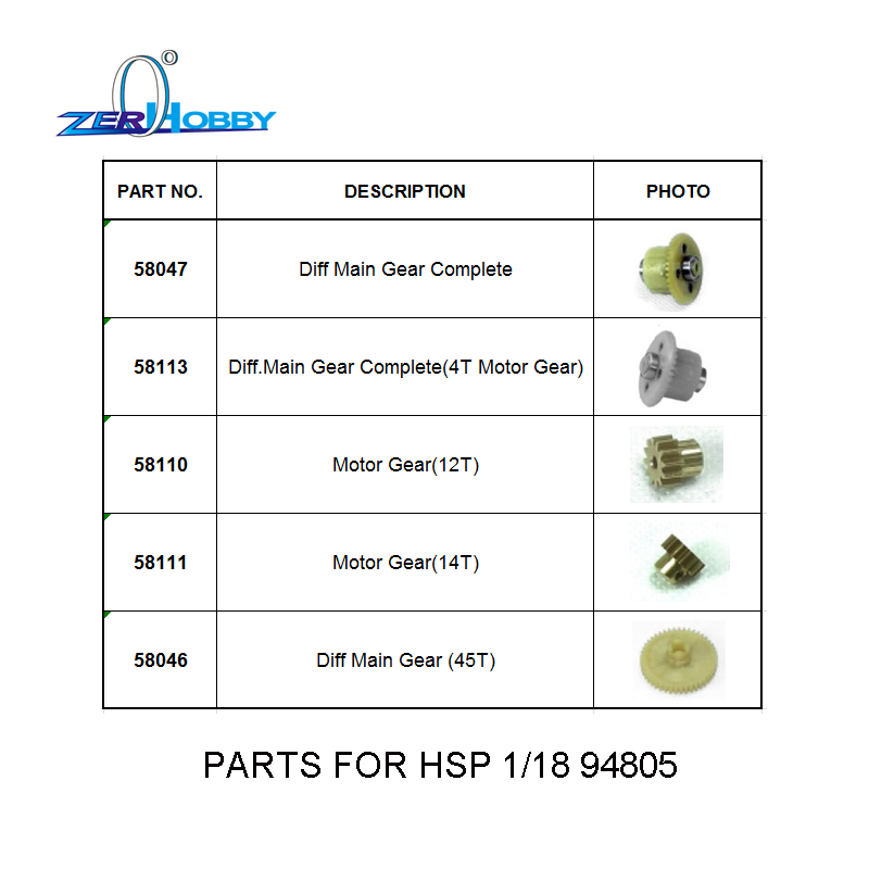 HSP RC CAR ACCESSORIES SPARE PARTS 58047 58113 58110 58111 58046 FOR HSP 1/18 SCALE ELECTRIC POWERED REMOTE CONTROL BUGGY 94805 hsp 02024 differential diff gear complete 38t for 1 10 rc model car spare parts fit buggy monster