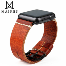 MAIKES Vintage Oil Wax Leather Watchband For Apple Watch Strap 44mm 40mm Series 4 3 2 & Apple Watch Band 42mm 38mm iWatch цена