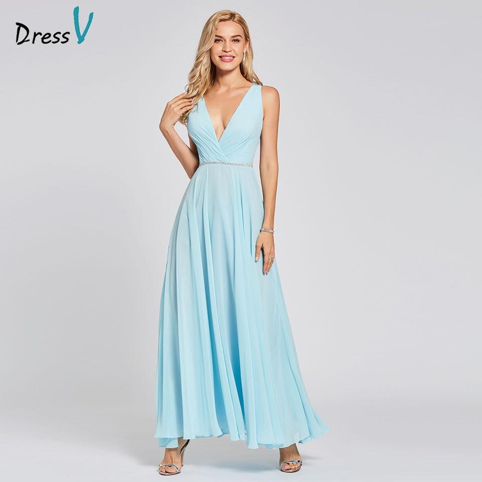 Dressv sky blue evening dress cheap v neck a line backless beading floor length wedding party formal dress evening dresses