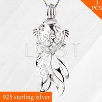 Interesting Goldfish Pendant 925 Sterling Silver Locket Necklace Pendant 3pcs