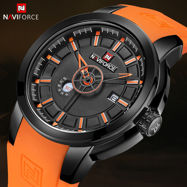 NAVIFORCE New Arrival Men Quartz Watch Silicone Fashion Watches Waterproof Shockproof Man Sport Wristwatch Relogio Masculino