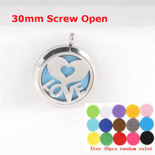 Hand Love Screw Aromatherapy Essential Oil Diffuser Locket Stainless Steel Perfume with Free Chain and Pads