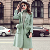 2018 new double sided cloth cashmere female wool tweed long slim woolen coat