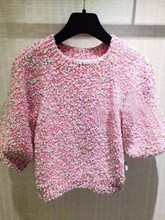 VogaIn 2016 New Luxury Fashion Sweet Pink Knitted Sweater Shirt Short Pullovers With Half Sleeved Beaded Details