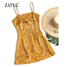 49f9447355e ZAFUL Beach Dress Bowknot Cut Out Tiered Mini Beach Cover Ups Spaghetti  Strap Hollow Out Summer Bow Tied Layered One Piece Suit
