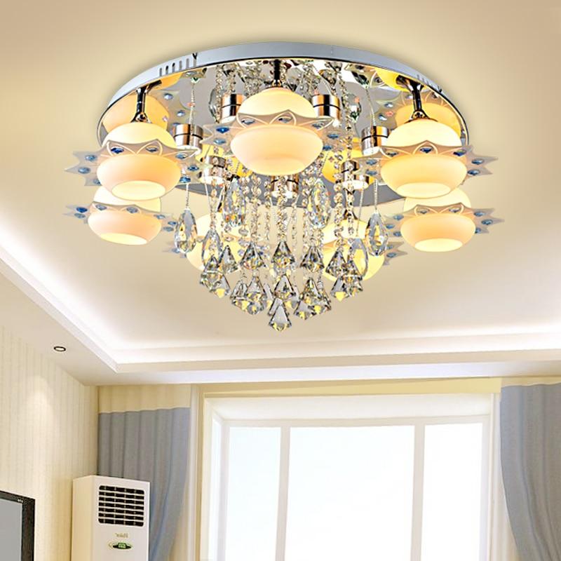 led e27 Modern Iron Glass Crystal Dimmable LED Lamp.LED Light.Ceiling Lights.LED Ceiling Light.Ceiling Lamp For Foyer Bedroom