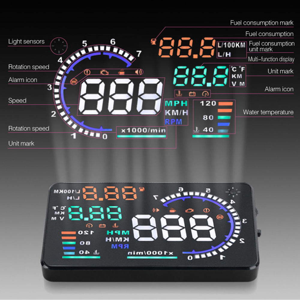 2019 Universal 5 5 Car HUD Head Up A8 Display Multi Color Windshield Screen Projector Vehicle