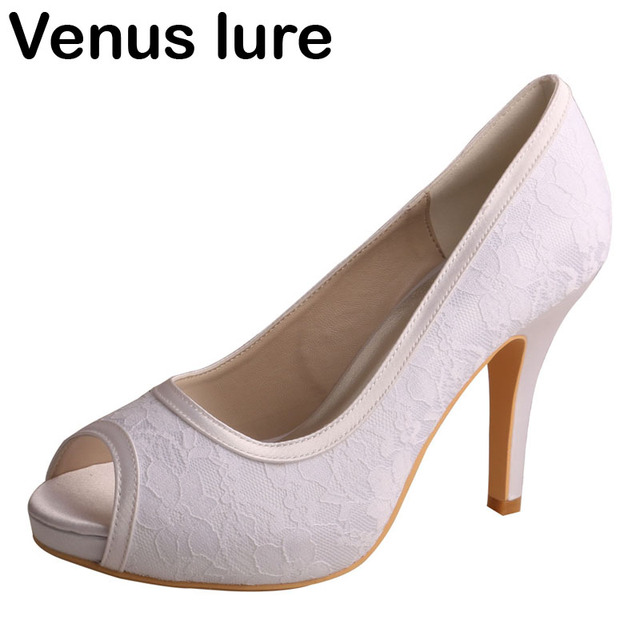 Venus lure Custom Handmade Open Toe White Lace Shoes Wedding for Bride High  Heeled 6be358ab0f66