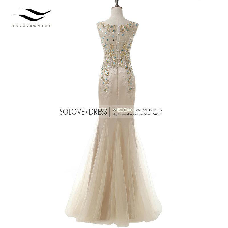 Элегантная ткань Накладка для кнопки рукав Кристалл бисером длинное платье выпускного вечера тюль русалка платье выпускного вечера Longo Vestido de festa(SLP-011