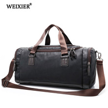 WEIXIER 2019 Mens Handsome PU Large Capacity Long-Distance Travel Handbag Solid Color Retro Style High Quality Aircraft