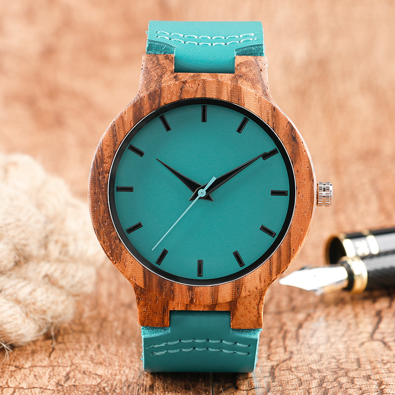 Fashion Blue Wooden Bamboo Quartz-watch Genuine Leather Strap Nature Wood Wristwatch Creative Gift for Men Women Reloj de madera fashion nature wood quartz wrist watch genuine leather band bamboo pattern strap men women analog green light grey gift