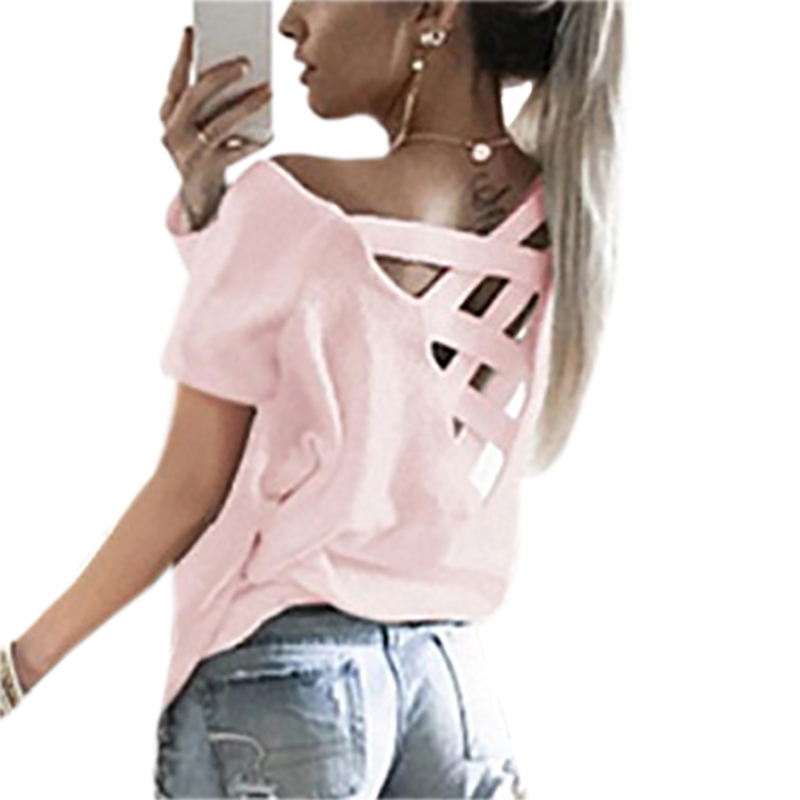 2018 Women Sexy Backless Hollow Bandage Punk Tee Shirt Femme Woman Tops Short Sleeve Summer T-Shirts   Four Colors