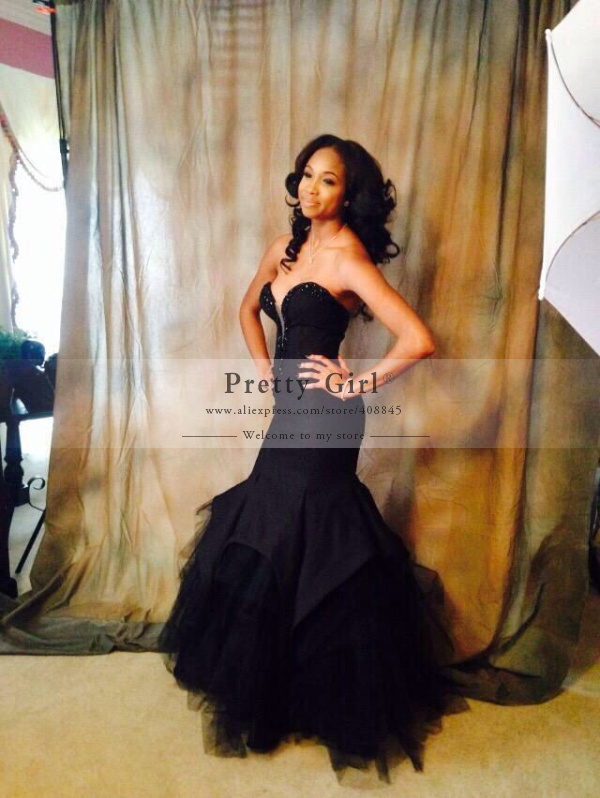 Aliexpress.com : Buy Hot Fashionable Black Mermaid Prom Dresses ...