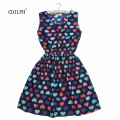 2017 New Women Dress Fashion Cute Love Florals Print Round Neck Sleeveless Chiffon Dress Femininas Saias S M L XL XXL