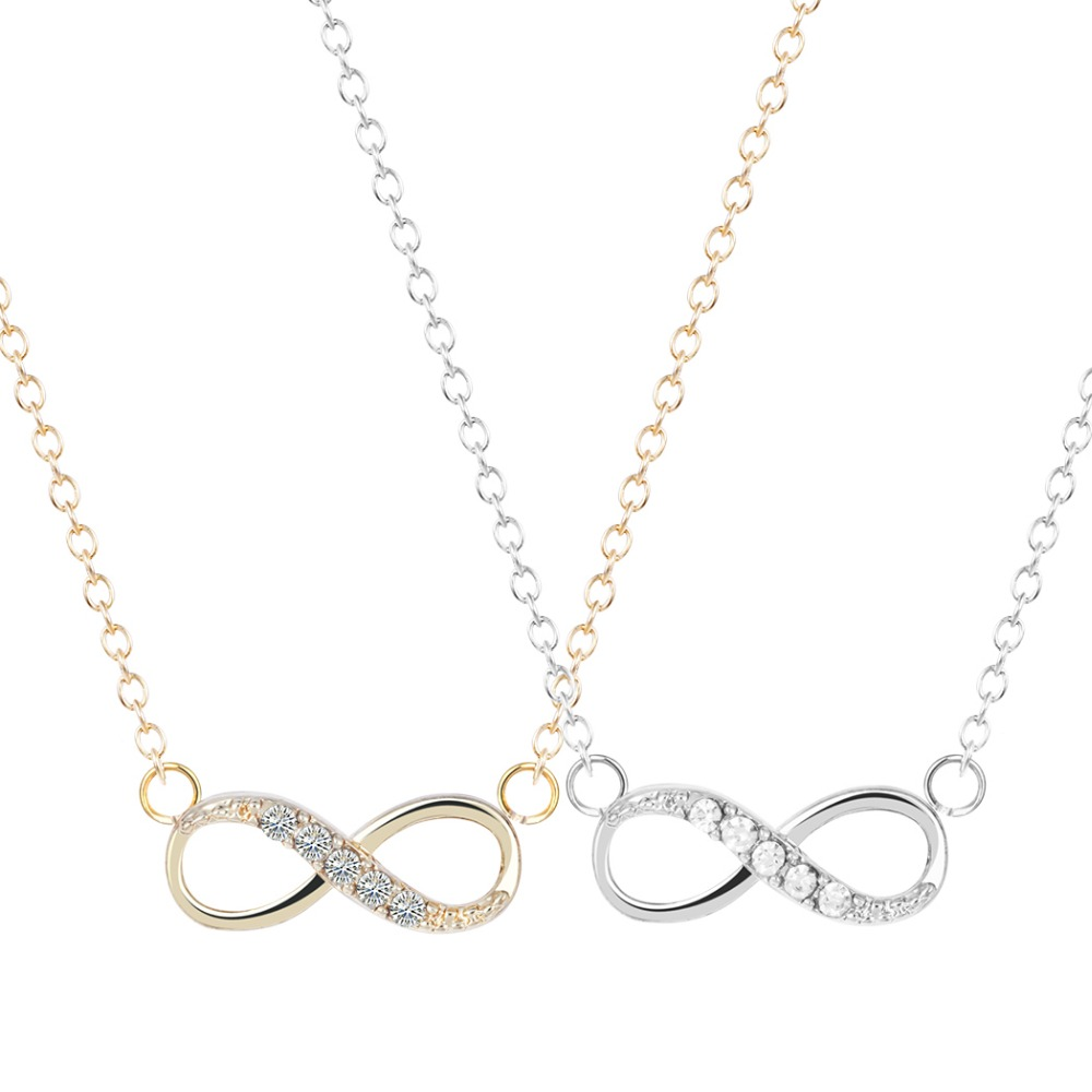 New Style CZ Diamond Tiny 8 Infinity Necklace Unique Pendant Collares Fashion Jewelry Gift Necklace for Girls and Women
