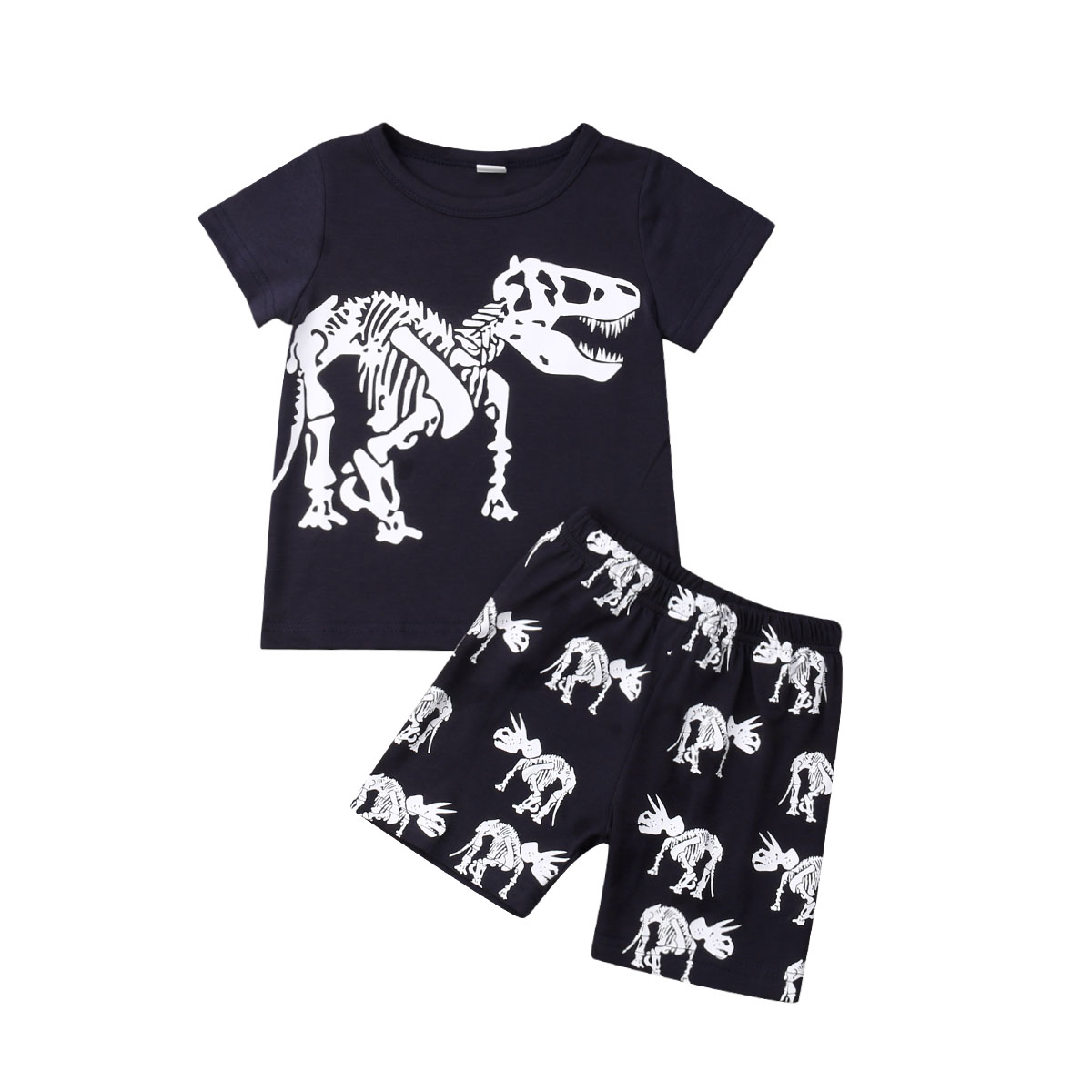 Boys' Clothing Mother & Kids Glorious 2019 Summer Boys Kids Black Outfits Animal Dinosaur T-shirt Pants Shorts Set Clothes 2-8y Cool Fashion Cotton Kid Clothing Sets