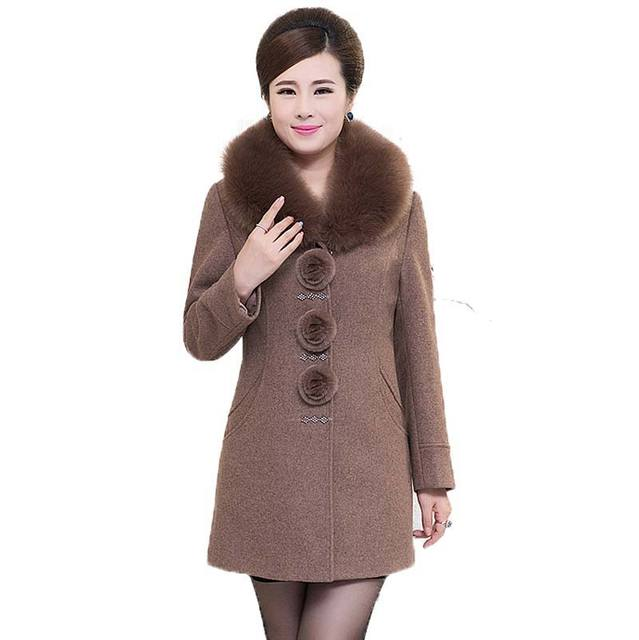 2015 nuevas Mujeres de la moda de invierno abrigo de Lana cuello de Piel Parka cálida sólido Espesar Abrigos BL1234