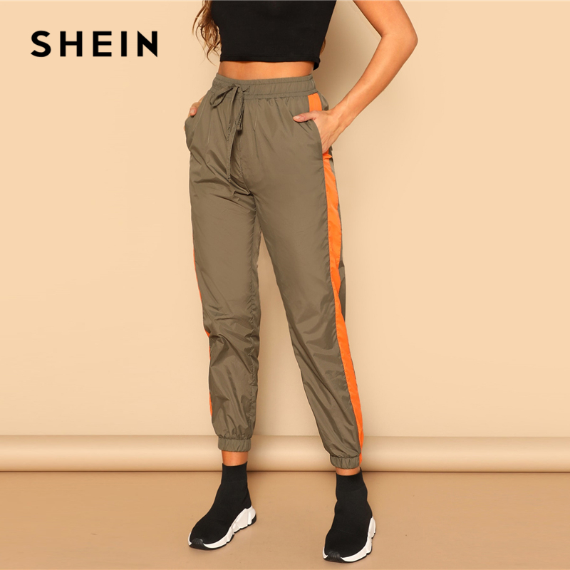SHEIN Army Green Drawstring Waist Contrast Tape Side Utility   Capris     Pants   Women Spring 2019 Casual Pocket Belted Trousers