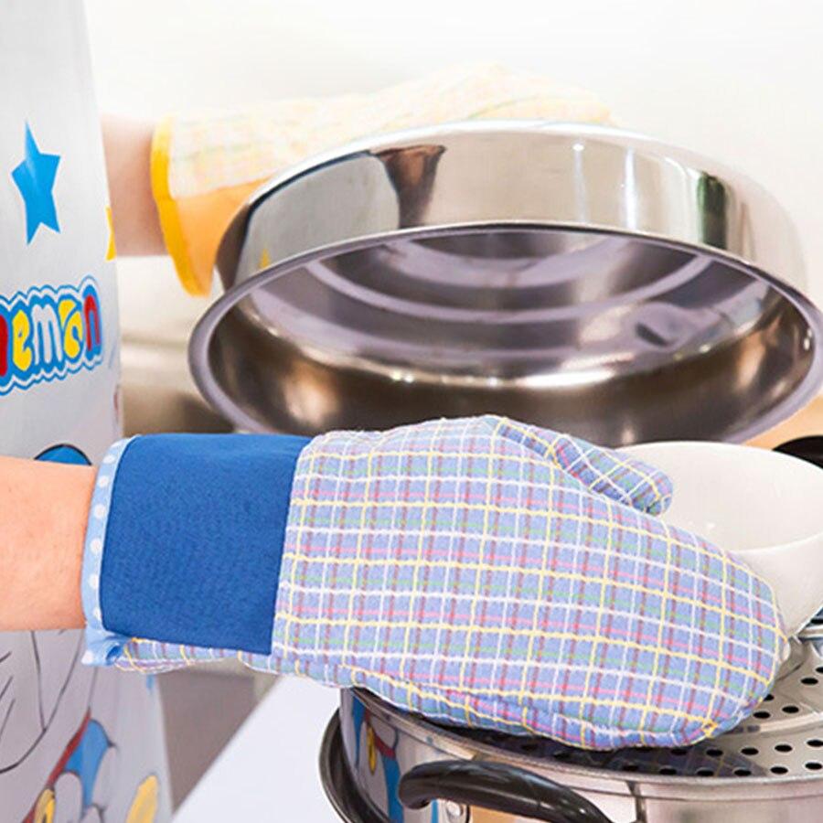 Милые хлопковые печь Прихватки для мангала Термостойкие микроволновая печь Термальность изоляции Кухня перчатки