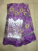 TS-13 Púrpura bordado del applique del cordón de Nigeria, Noble con cuentas de tul de tela de encaje para el vestido de novia de la boda de nigeria