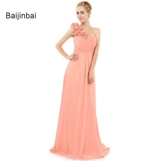 ac9e9ba0720e4 Baijinbai ريال صور 2019 المرأة الوردي ألف خط طويل مساء اللباس الحبيب واحدة  الكتف الطية الزهور