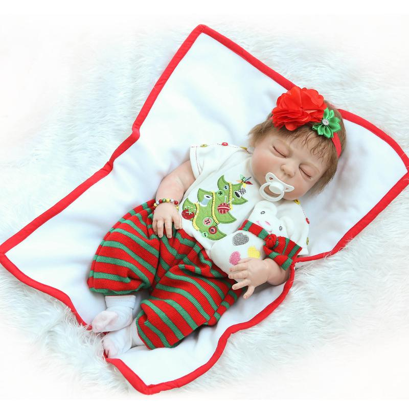 50cm Full Body Sleeping Silicone Reborn Baby Girl Doll in Christmas Clothes Girls Birthday Gifts Bathed Toy Girls Brinquedos 22 inch silicone dolls reborn boy 55cm full body realistic reborn baby doll bathed doll toy in soft blue clothes birthday gifts
