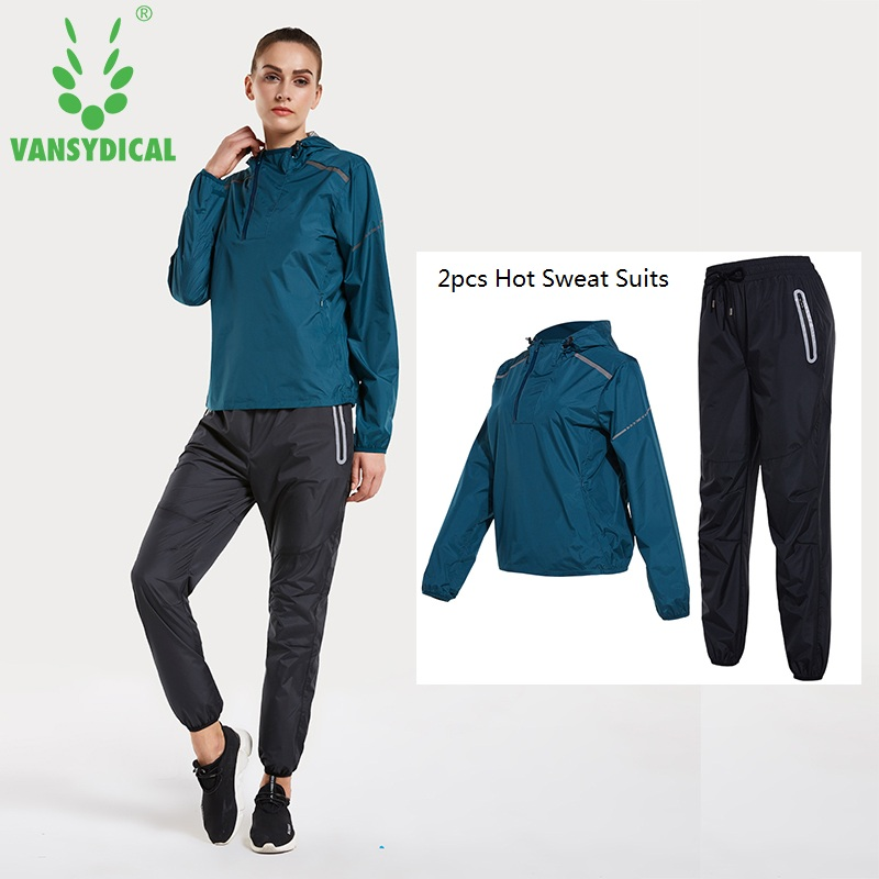 Women 2 pcs Running Jogger Suits Vansydical Hot Sweat Sports Sets Quick Perspiration Hooded Pullover Pants