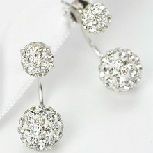 2019 New Fashion Women Gifts Wedding Party Drop Earrings 8 Colors Crystal Ball Simple Dangle
