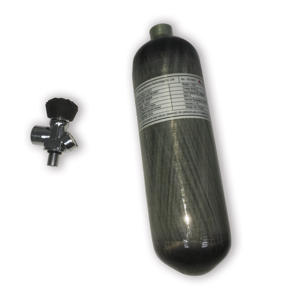 ACECARE 2.17L CE HPA Tank Pcp Paintball Air Tank 4500psi Carbon Fiber Cylinder Scuba Diving Tank With Gauge Din Valve AC121731