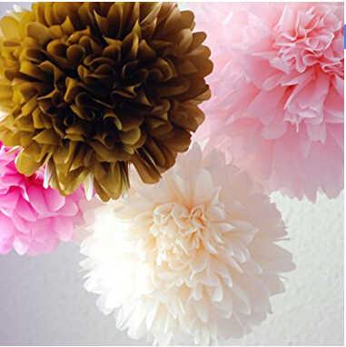 6 CÁI Vàng Hồng Nhạt Ngà Tissue Paper Flower paper Pom poms Wedding Birthday Làm Lễ Rửa Tội Bé Gái Tắm Treo Trang Trí