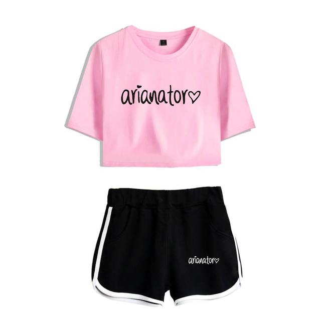 Ariana Grande Summer Gril Crop Top Two Pieces Short Tskjorte