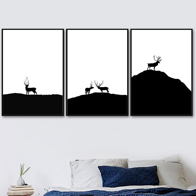 Black White Deer Mountain Landscape Wall Art 1