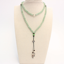 TALE Brand Natrual Green Aventurine Jade Beads Necklace With S925 Silver Lotus Flower Pendant For Women