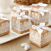 50pcs/lot Creative Gift Box Rustic and Lace Kraft Favor with Ribbon Wedding Party Decoration Candy