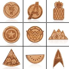 Jisensp Marvel Pins Avengers Magnetic Wood Brooches for Women Cute Pineapple Watermelon Jackets Pin Badge Fashion Jewelry bijoux(China)