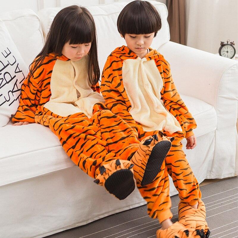 2019 Mode 2018 Kinderen Pyjama Tiger Flanel Dieren Pyjama Dwarsliggers Voor Kids Cartoon Jongens Meisjes Winter Jumpsuits Pijama De Unicornio Laatste Stijl