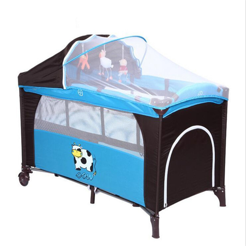 2017 Mummy Travel <font><b>Accessory</b></font> Cow Pattern Baby Crib Child Bed Continental Multifunction Portable Folding Baby Playpen