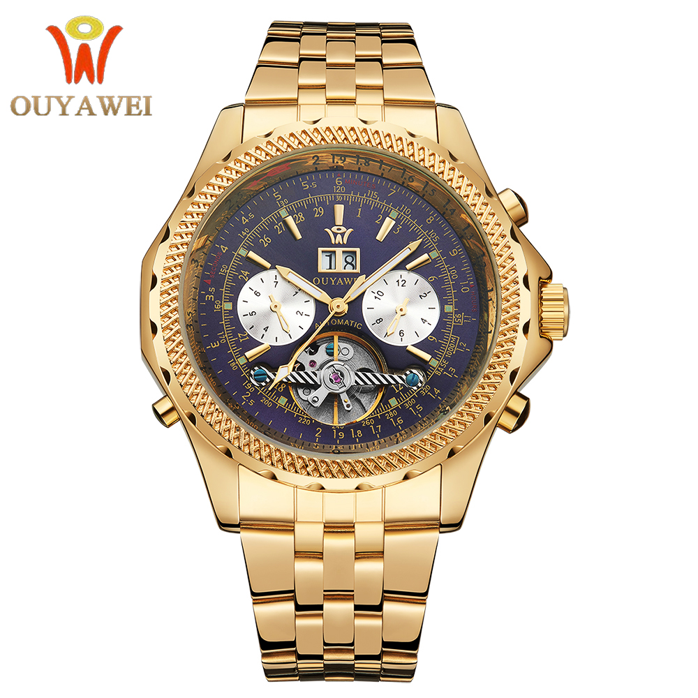 OUYAWEI 2017 Gold Color Case Blue Chronograph Skeleton Dial Stainless Steel Wrist Watch Luxury Automatic Mechanical Watch stylish 8 led blue light digit stainless steel bracelet wrist watch black 1 cr2016