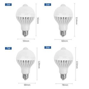 Image 2 - PIR hareket sensörlü LED Ampul E27 Lamba 5 W 7 W 9 W 110 V 220 V led ışık Indüksiyon Ampul Merdiven Koridor gece Işık Koridor Lambaları