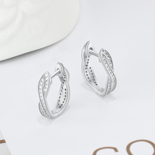 Classic Cubic Zirconia Silver Hoop Twisted Earrings for Women